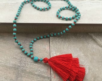 ARIA Tassel Stack Necklace Hand Knotted Turquoise Beads Red Tassel Necklace Red Silk Tiered Tassels Long Tassel Stack Necklace