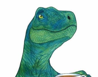 Watercolor Dinosaur Art Print Tea Lover Gift Velociraptor Art Whimsical Animal Art Funny Kitchen Art Kitchen Wall Art Dinosaur Decor