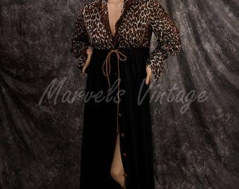 Leopard Print Dressing Gown Animal Print Vanity Fair Hostess Gown Robe Loungewear Size Small