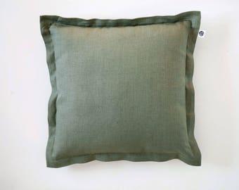 Seafoam throw pillow, flanged linen euro sham, custom size pillow cover