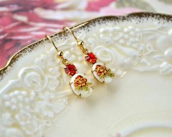 Dainty Cameo Earrings, Vintage Cabochon Earrings, Daffodil Jewellery, Limoges Orange Flower Earrings, Gold Womens Earrings, Wife Gift