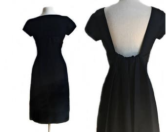Vintage 50s black cocktail dress/ Nathan & Strong taffeta hourglass dress/ MOD LBD/ formal black dress/ watteau back/ waterf