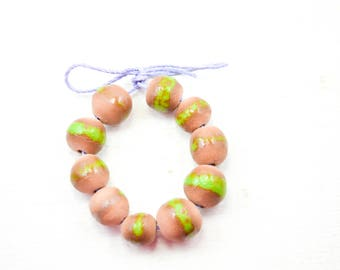 10 Handcrafted Ceramic Beads - Green - Unique Assortment - Earthy - Striped- Handmade - Round- Pottery beads - Brownstone - Bead Set  Y496