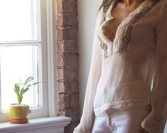 cacharel silk peasant top with gold thread and beading