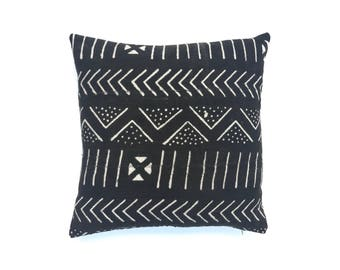 Authentic African Mudcloth Pillow, Black and White Mud cloth Pillow Cover 20 x 20 Cushion Cover