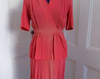 Vintage 1940s Crepe Pink Peplum Dress