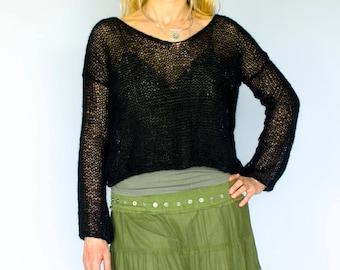 Black V Neck Sweater, Summer Knit Tops, Sheer Blouse, Ladies Knit Tops