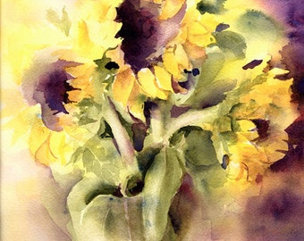 Sunflowers watercolor painting print, floral watercolor print, fine art by connietownsart, matted to 16x20, yellow, green, purple, white
