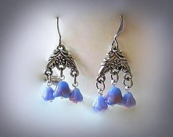 blue chandelier earrings blue dangle earrings hypoallergenic earrings nickel free earrings  lucite flower earrings blue flower earrings