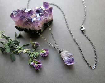 Raw Amethyst Necklace - February Birthstone Necklace - Raw Crystal Necklace - Raw Amethyst Pendant - Raw Gemstone Necklace - Quartz Necklace