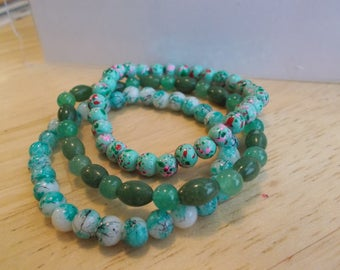 3 Bangle Stretch Bracelets made with Shades of Green Glass Beads