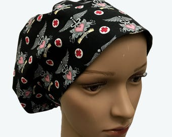 Euro Scrub Hat - Calling All Nurses Fabric modified bouffant - Slouchy hat - EKG scrub hat