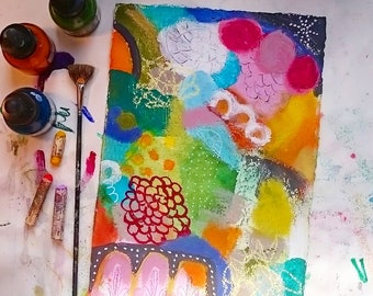 Lively, small, abstract acrylic painting with oil pastele on handmade Khadi paper, colorful, original
