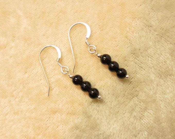 Triple Stacked 4 mm Black Onyx Earrings on Sterling Silver or 14k Gold Fill - Dangle Earrings