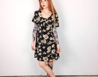 90's Grunge Abstract Floral Sunflower Daisy Mini Dress // Women's size Large L