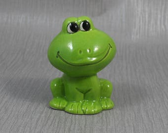 Kitsch Ceramic Green Frog Ornament Money Bank Figurine