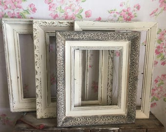 White Shabby Chic Picture Frames -  Large 8 x 10 plus - set of 4 - ORNATE - Farmhouse Frames - WEDDING, French Country All Solid Wood