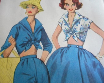 Vintage Simplicity 2121 Top, Shorts and Wrap-Around Skirt Sewing Pattern, Size 12 Bust 32 or Size 14 Bust 34