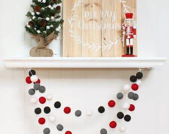 Christmas Pom Pom Garland, Felt Ball Garland, Christmas Garland, Holiday Decor, Christmas Tree Decoration, Christmas Party Decor, Red Gray