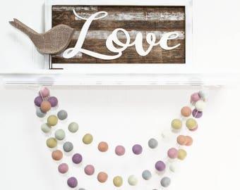 Felt Ball Garland: Spring Pastel, Pom Pom Garland Spring, Nursery Decor, Bunting Banner, Easter Party Decor, Easter Decor, Easter Garland