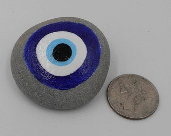 Protection stone Evil Eye hand painted rock pocket rock gift