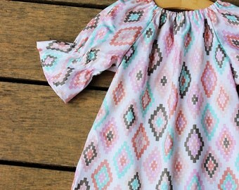 Girls Navajo Dress, boho Dress, fall dress, baby dress, aztec, coming home outfit, photoshoot dress, simple, thanksgiving dress, pink,