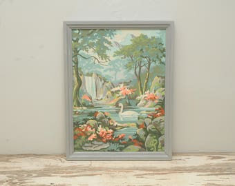 Vintage Paint by Number Painting Swans