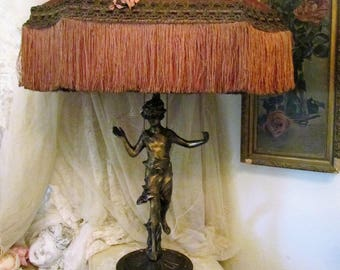 LAYAWAY For L Antique Spelter Lady Lamp With Pink Rose Ribbon Work Lamp Shade