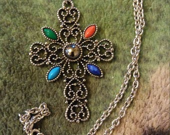 Avon Victoian Styled Cross With Colored Stones   Nice Avon Vintage Beauty