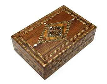 Middle Eastern Ring Box, Handmade Marquetry Box, Damascene Wooden Box, Vintage Palestine Ring Box, Micro Mosaic Inlay, Exotic Wedding Gift