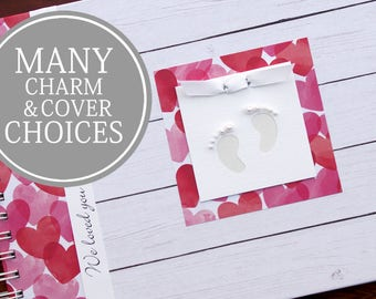 Gender Neutral Pregnancy Journal | Pregnancy Gift | Personalized Pregnancy Scrapbook | Shiplap + Hearts with Baby Footprints Charm