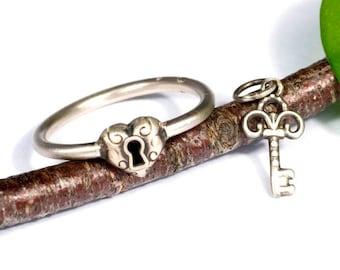 Ring, pendant, set, heart, key, engagement, 925 silver, steampunk
