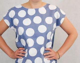 Summer Top, Light Cotton Top, Summer T-Shirt, no mimikri, nomimikri, Polkadot Top, Blue Polkadot Top,Polkadot T-Shirt, Blue Polkadots