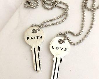 Silver Key Necklace, LOVE, FAITH, Vintage Necklace, Engraved Key, Vintage Keys, long necklace, giving, key necklace, layered necklace