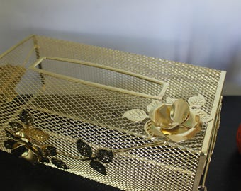 1960s Vintage Tissue Box cover Metal Mesh with Leaves and Roses,  Gold Flowers, Tissue Box cover, Gold mesh tissue box cover