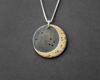 Handmade Silver Constellation Moon Necklace - Personalized Moon Star Necklace - Constellation Jewelry - Custom  Necklace - Mixed Metal
