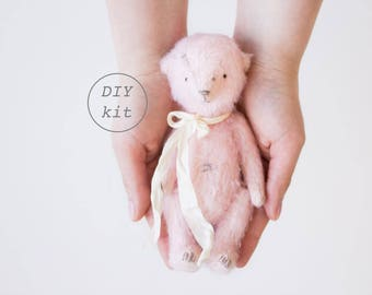 Pink Mohair Teddy Bear 7 Inches DIY Kit, Sewing Kit, Craft Kit, DIY Kits For Adults, DIY Gifts For Her, Artist Teddy Bear, Soft Toys