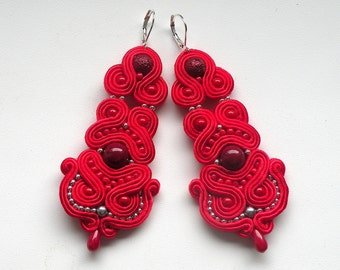 Soutache Earrings, Handmade Earrings, Hand Embroidered, Soutache Jewelry, OOAK, Fandango