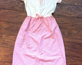 Vintage Retro 60s 70s Vicky Petite Pink Gingham Pinup Housewife Mom Maid Shirt Dress XS Extra Small