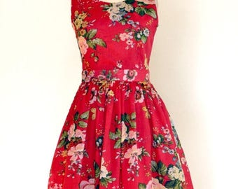 AUGUST 20 % OFF Red Floral Dress, Cotton Dress, Made to Order, 50s Dress,