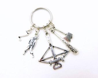 Zombie keychain, Zombie Keyring, Walking Dead jewelry, Walking Dead keyring, Walking Dead keychain, Custom Keychain,