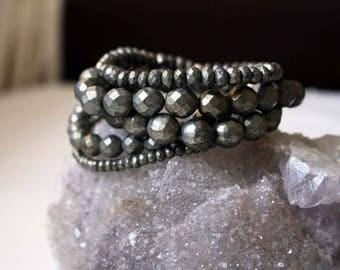 Pyrite Beaded Crystal Stacking Bracelet Set of 5