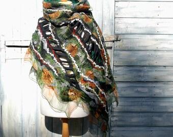 Nuno Felted scarf felt scarf felted shawl merino wool silk black grey white orange scarf felted art felted wool wrap scarf summer scarf