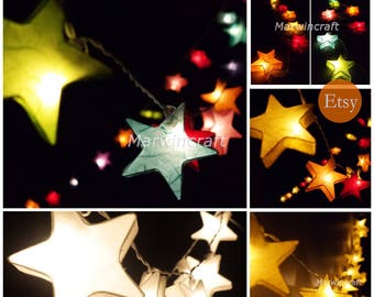 Colour Option Mulberry Paper String Lights Star Fairy Lights - Star fairy lights for bedroom