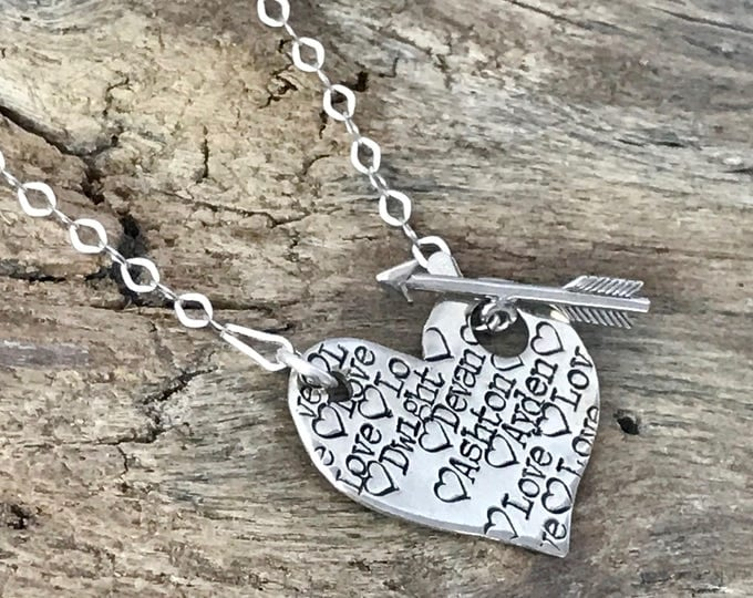 Heart Name Necklace   Heart Pendant Necklace   Name on Heart   Hand Stamped Name Necklace   Custom Name Necklace   Arrow Necklace