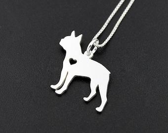Boston Terrier necklace sterling silver dog breeds pendant w/ Heart  Love Pet Jewelry Italian chain Women Best Cute Gift Personalized memory