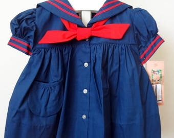 ON SALE Vintage Baby Girl Navy Sailor Dress with Red Trim and Tie and matching bloomers- All Sizes- New, never worn