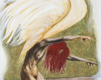 Angel Of Light 1 Original Painting by Artist Rafi Perez Mixed Medium on Canvas 24X36