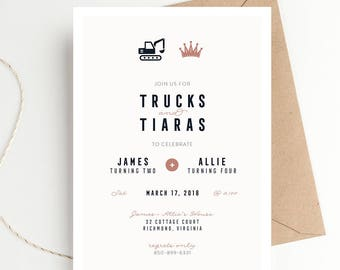 Trucks and Tiaras Birthday Party Invitation, Tractors and Princess, Twins or Joint Birthday, Boy + Girl Party, Dump Truck Construction Party