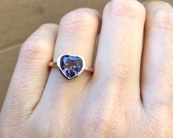 Mystic Topaz Heart Ring- Heart Shape Promise Ring- Heart Gemstone Sterling Silver Ring- Heart Engagement Ring for Her- Stackable Heart Ring